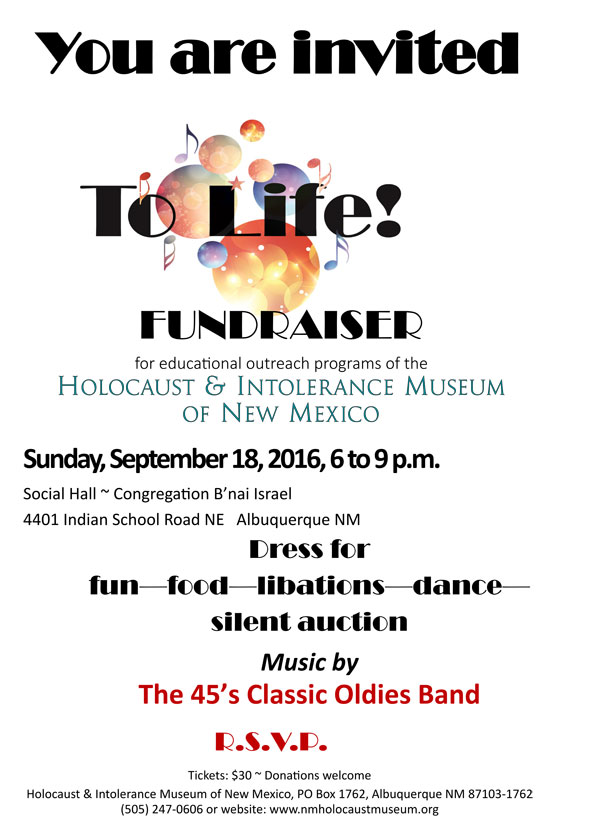 To Life Fundraiser - Click here for PDF version with RSVP form